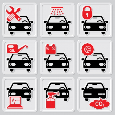 car garage: set vector icons of auto repair and service Illustration