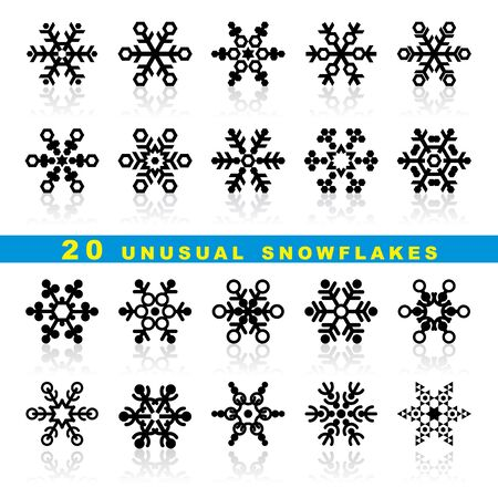 set vector icons of decorative geometric snowflakes Stock Vector - 16332288