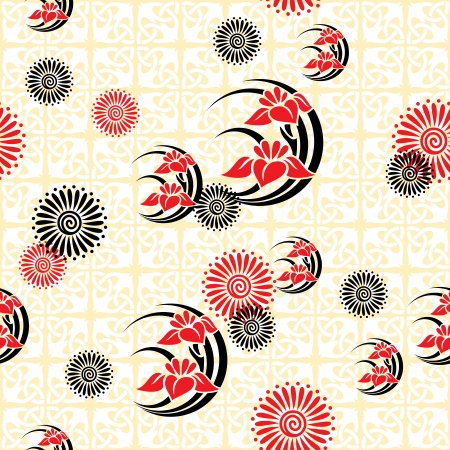 vector seamless background with japanese floral images Stock Vector - 16332287