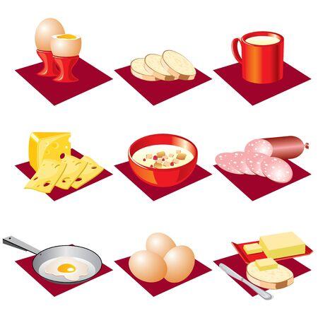 produits céréaliers: définir l'image de vecteur de manger le petit déjeuner