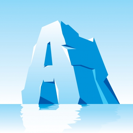 tridimensional: vector image of ice letter A