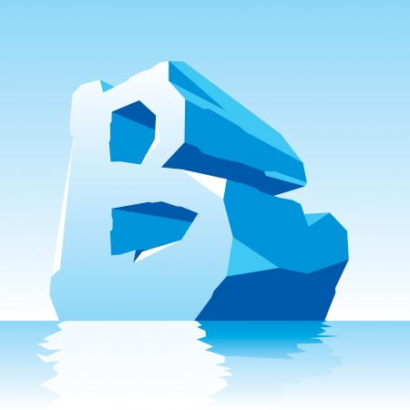 letter b: vector image of ice letter B