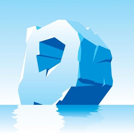 iceberg: vector image of ice letter D Illustration
