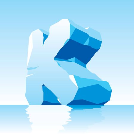 vector image of ice letter K