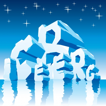 ice font:  image of iceberg made up of ice letters