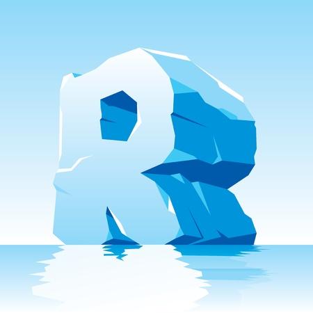 cleft:  image of ice letter R Illustration