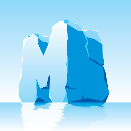 ice alphabet:  image of ice letter M Illustration
