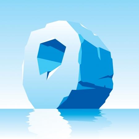 gla�on: l'image de la lettre O de la glace