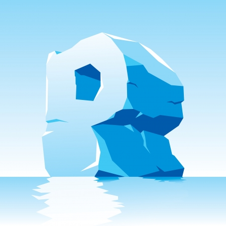tridimensional:  image of ice letter P