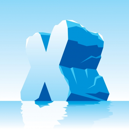 tridimensional:  image of ice letter X