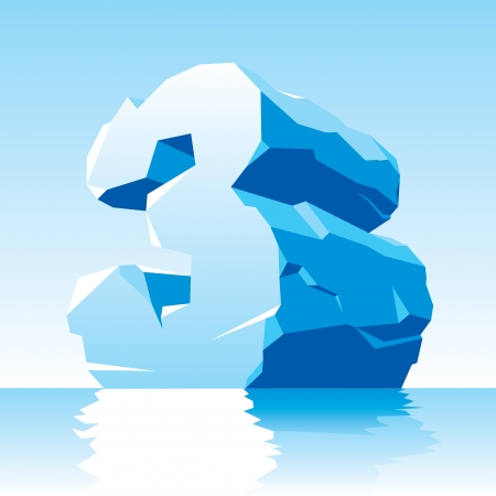 cleft: vector image of ice number 3