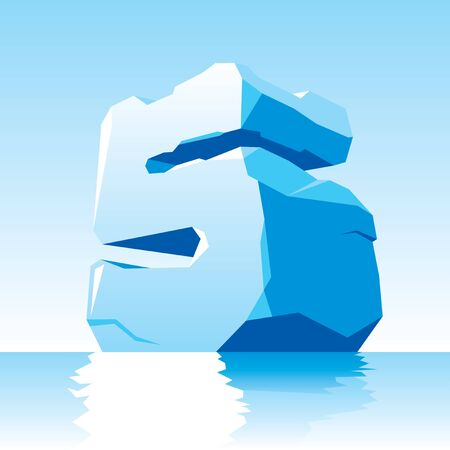 cleft: vector image of ice number 5