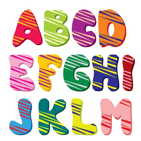 alphabetical order: Latin alphabet  Part 1  The colorful of rounded characters Illustration