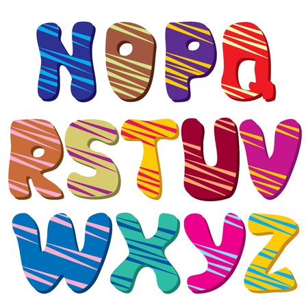 alphabetical order: Latin alphabet  Part 2  The colorful of rounded characters