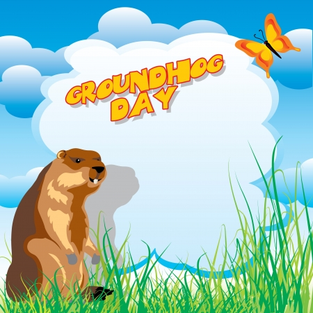 marmot: vector image for greeting card of groundhog day