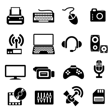 computer mouse: set vector computer icons of computer devices and communication