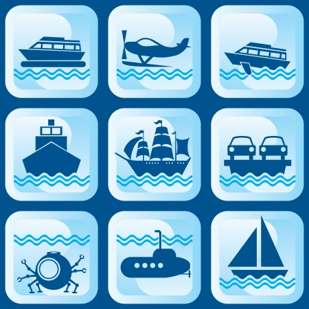 set of vector icons on marine vessels and transport Stock Vector - 17048642