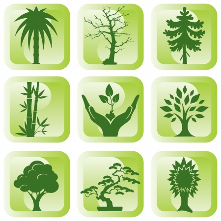 oak leaves: set of vector silhouette icons of trees and plants Illustration