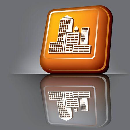 vector image volumetric computer button with the symbol of skyscrapers Vector