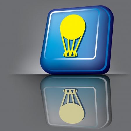 aeronautic: vector image volumetric computer button with the symbol of balloon