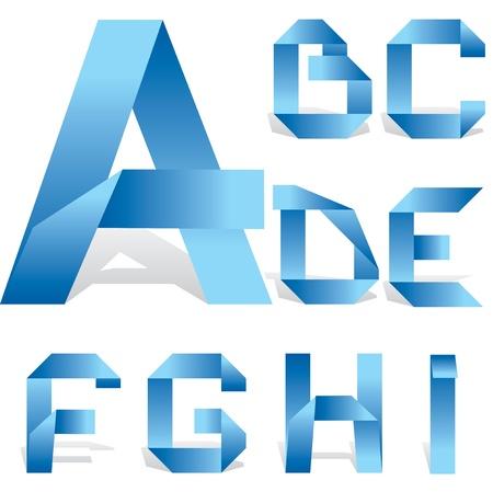 folded paper: vector alphabet of folded strips of paper. Part 1 Illustration