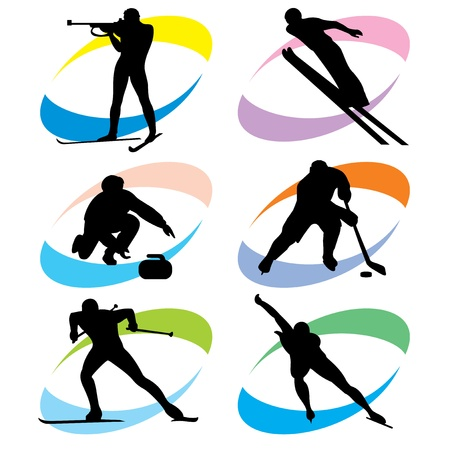 curling: set of silhouette icons of the winter sport
