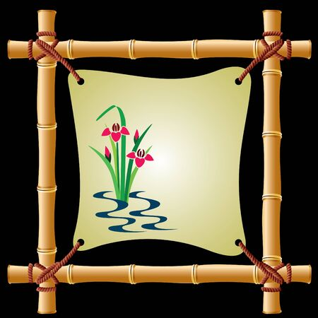 image of a bamboo frame with a taut sheet of paper Vector