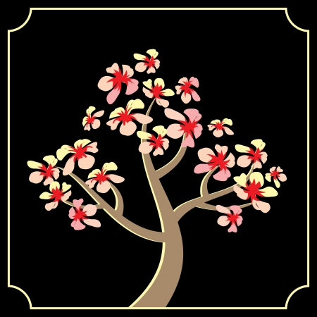 vector decorative image of blossom japanese cherry. Sakura Vector