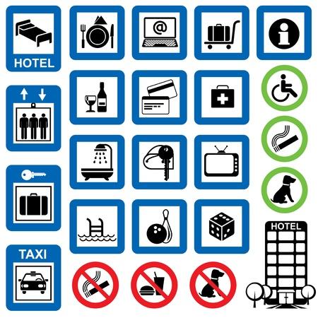 parlour games: vector set of information symbols for the hotel. Illustration