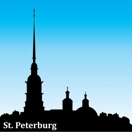petersburg: vector silhouette image of Russian city Sankt Petersburg