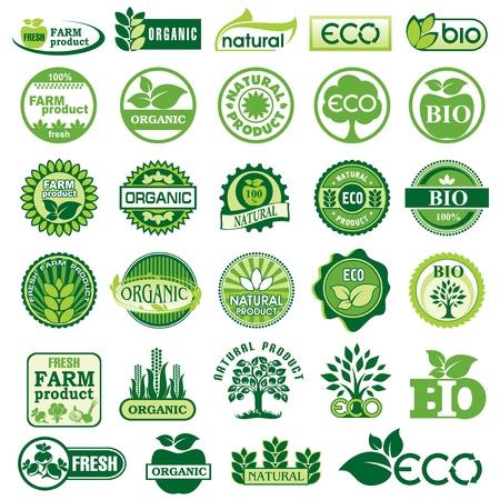 org�nico: establecer etiquetas de vectores y emblemas de la ecolog�a y el medio ambiente Vectores