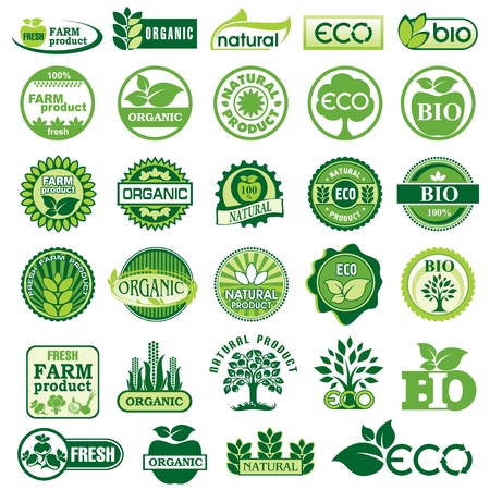 healthy eating: set vector labels and emblems of ecology and environment