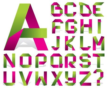 alphabetical letters: vector alfabeto de cinta de color doblado