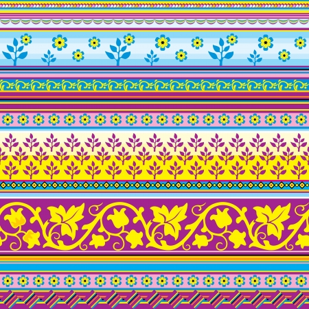 moresque: vector seamless striped  background with floral ornament pattern