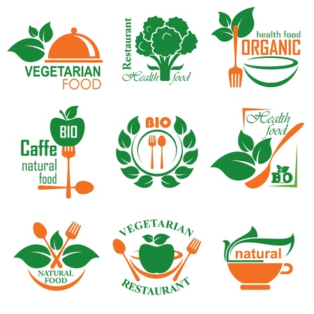 healt: set of labels and emblems of health and vegetarian food Illustration