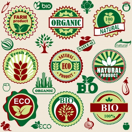 set vector labels and emblems of natural and bio products Stock Vector - 18843290