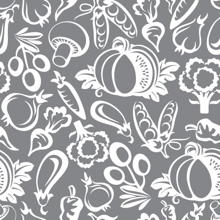 seamless background with vegetables icons Vector