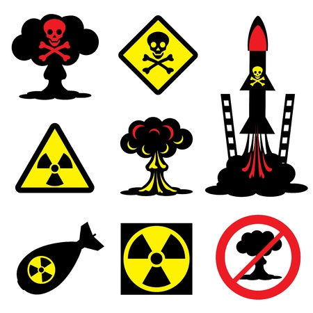 atomic explosion: set vector icons of radiation hazard and nuclear weapons
