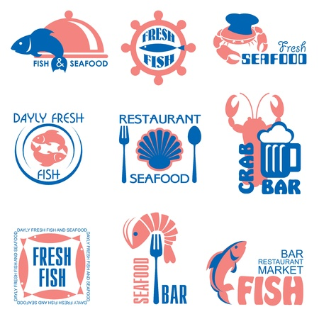 set vector labels and emblems of fish and seafood Stock Vector - 19049446
