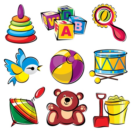 set vector images of children toys and entertainment