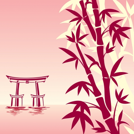 vector image of traditional Asian landscape in red colors Vector