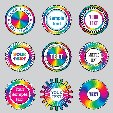 vector images: set vector images of color rainbow label and   sticker