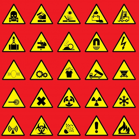 high voltage sign: set vector icons of warning sign and danger symbols