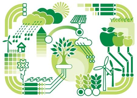 mundo contaminado: diagrama de patr�n de vector de medio ambiente y ecolog�a Vectores