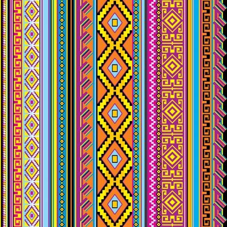 vector striped seamless background with a mexican ornament Illustration
