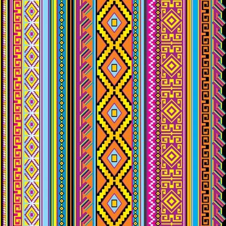 Vector de rayas de fondo sin fisuras con un adorno mexicano