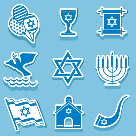 jewish holiday: set vector icons of israel sign and symbol