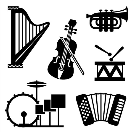 set black and white icons of musical tools