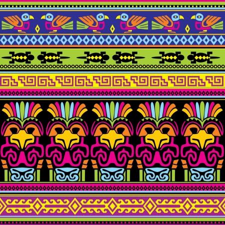 cultura maya: de fondo sin fisuras con los animales ornamento mexicano Vectores