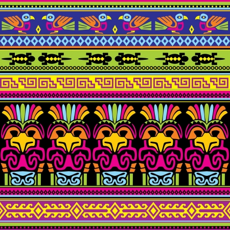 indigenous: seamless background with  animals mexican ornament Illustration